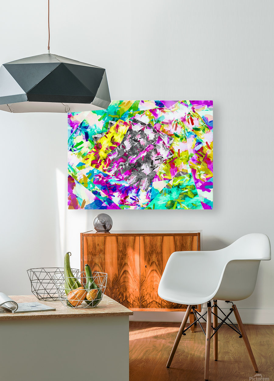 psychedelic splash painting abstract in pink blue yellow green purple  HD Metal print with Floating Frame on Back