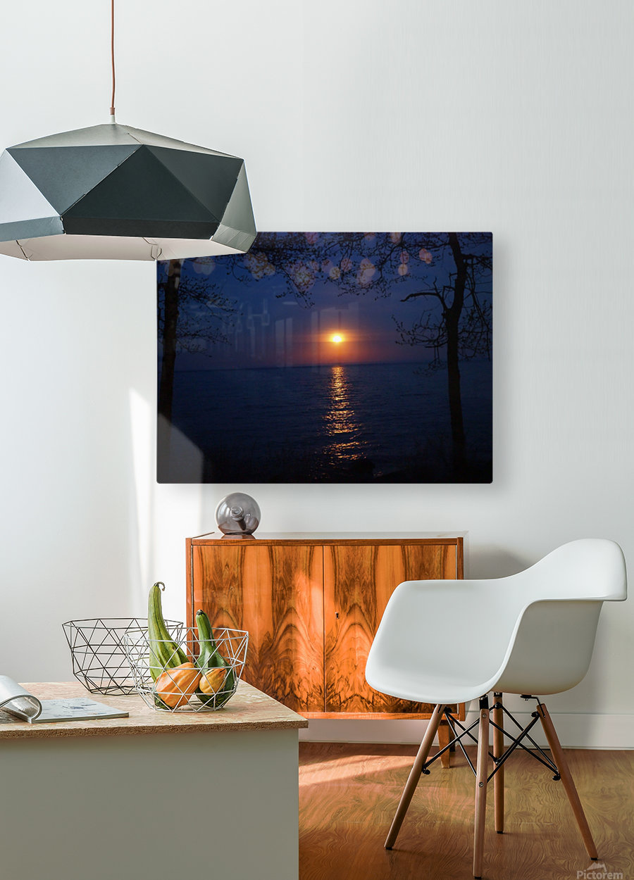 moon glow  HD Metal print with Floating Frame on Back