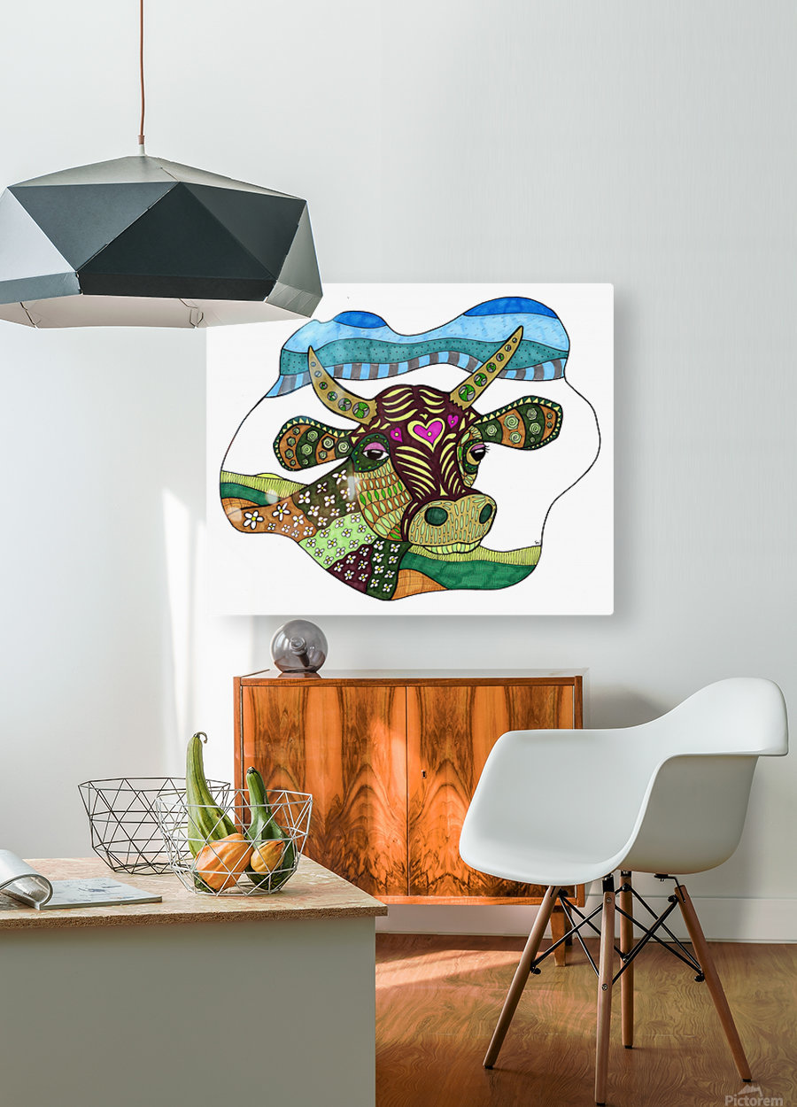 Elsie Cow  HD Metal print with Floating Frame on Back