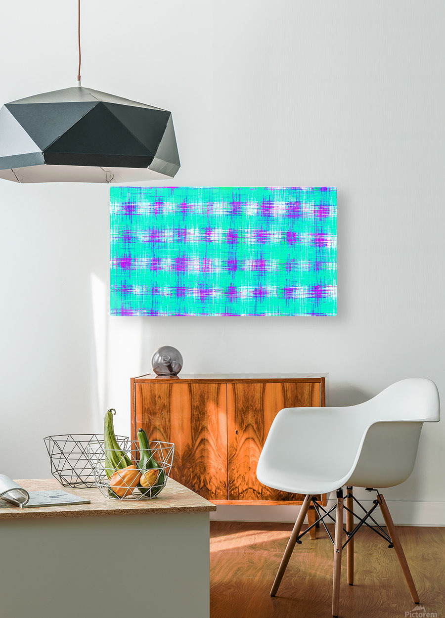 plaid pattern graffiti painting abstract in blue green and pink  HD Metal print with Floating Frame on Back