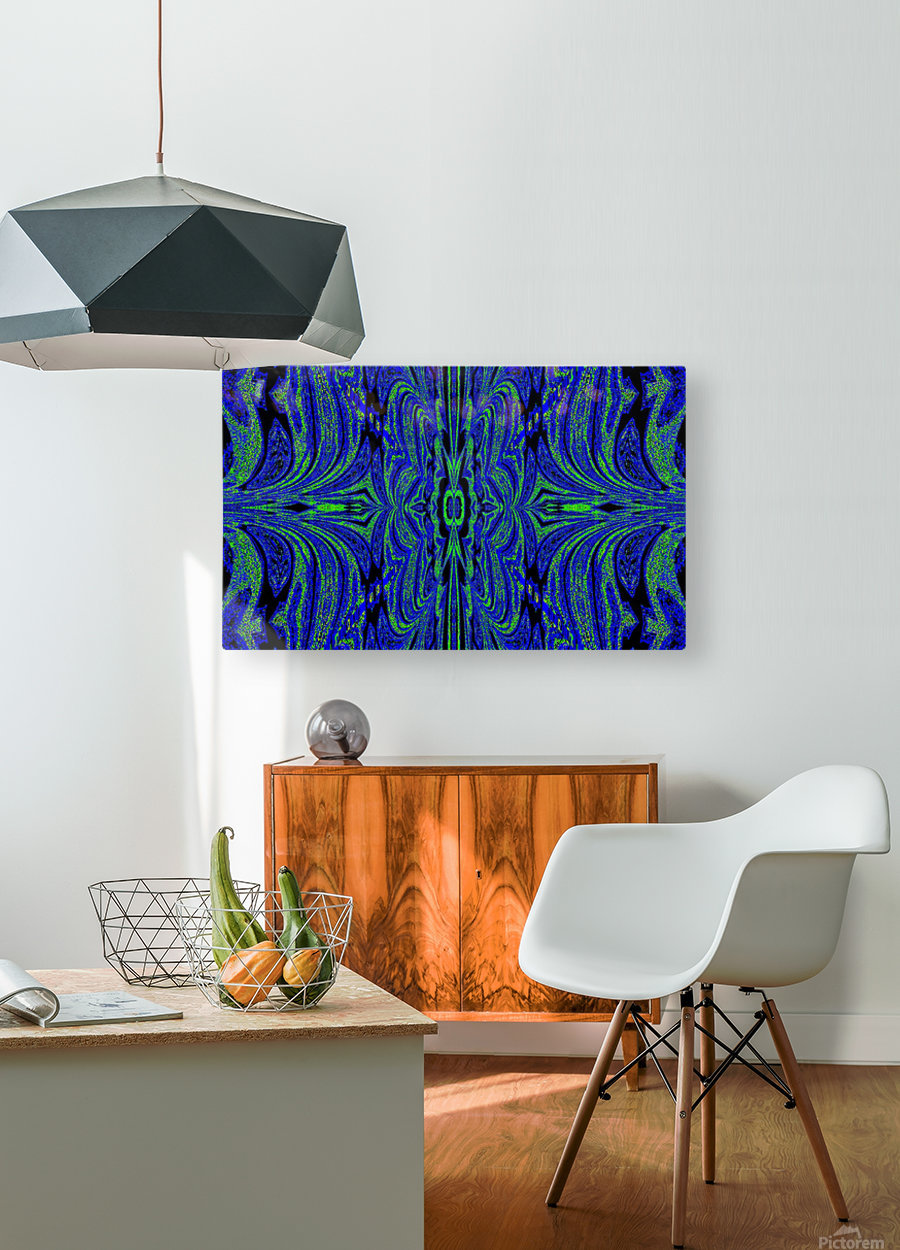 Blue Butterfly in Green  HD Metal print with Floating Frame on Back