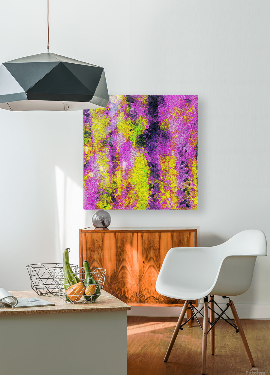 vintage psychedelic painting texture abstract in pink and yellow with noise and grain  HD Metal print with Floating Frame on Back
