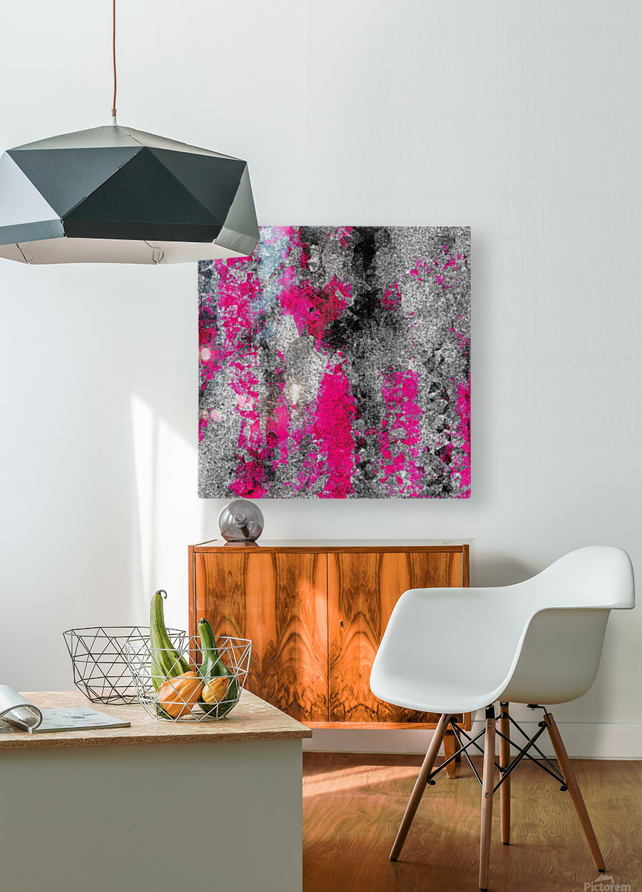 vintage psychedelic painting texture abstract in pink and black with noise and grain  HD Metal print with Floating Frame on Back