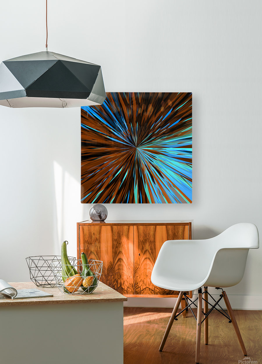 psychedelic splash painting abstract pattern in brown and blue  HD Metal print with Floating Frame on Back