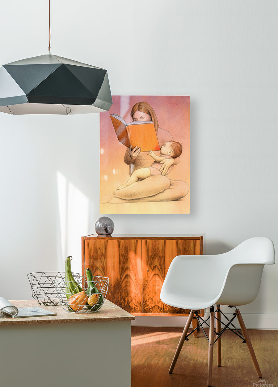 eating time  HD Metal print with Floating Frame on Back