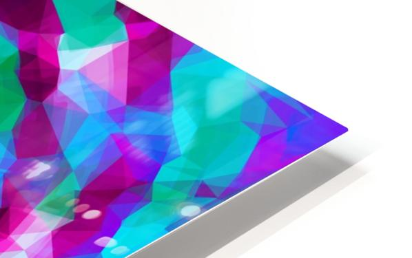 psychedelic geometric polygon pattern abstract in pink purple blue HD Sublimation Metal print