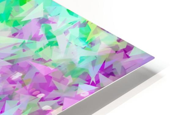 psychedelic geometric triangle abstract pattern in purple and green HD Sublimation Metal print