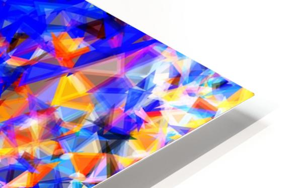 psychedelic geometric triangle abstract pattern in blue orange yellow HD Sublimation Metal print
