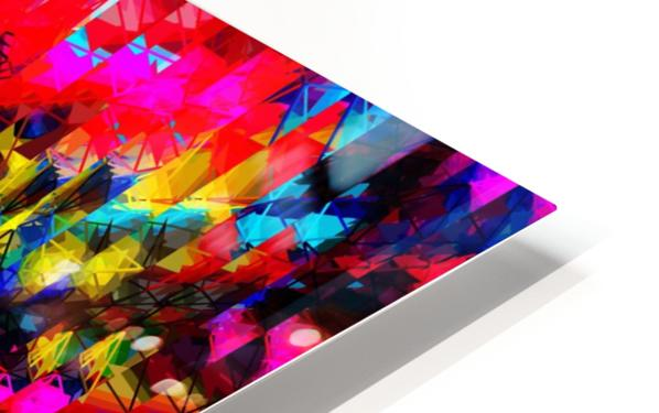 psychedelic geometric painting abstract pattern in red pink blue yellow HD Sublimation Metal print