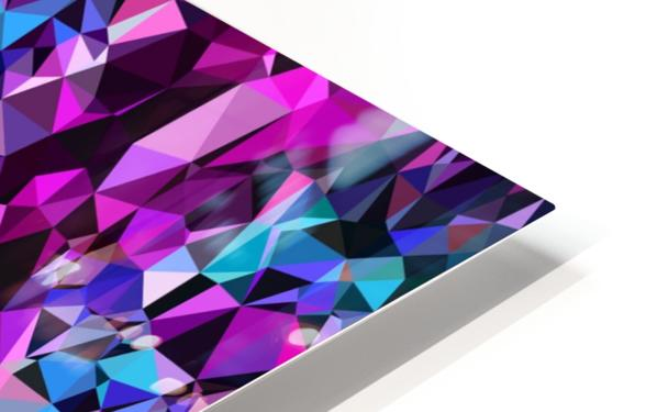 geometric triangle polygon pattern abstract in pink blue black HD Sublimation Metal print