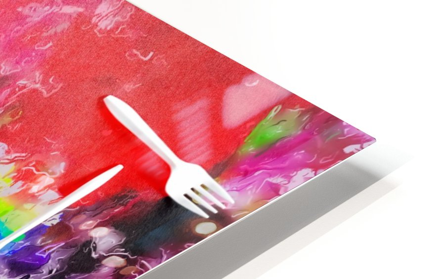 EAT alphabet by fork with colorful painting abstract background HD Sublimation Metal print