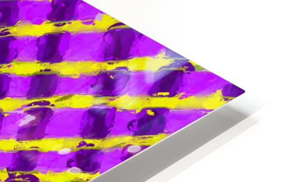 line pattern painting abstract background in purple and yellow HD Sublimation Metal print
