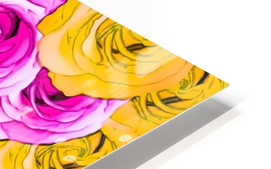 pink rose and yellow rose pattern abstract background HD Sublimation Metal print