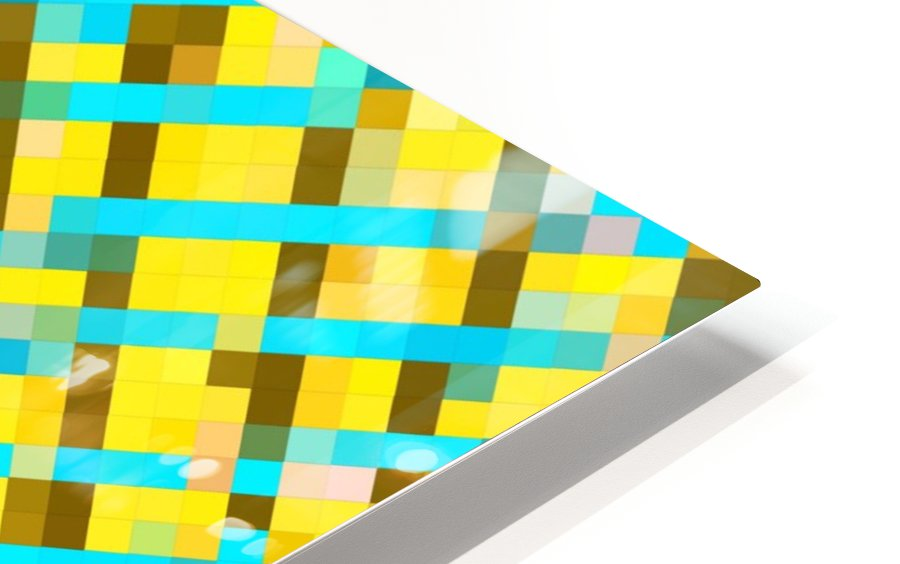 geometric pixel square pattern abstract background in yellow blue brown HD Sublimation Metal print