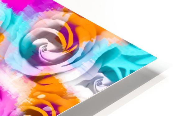 closeup rose texture pattern abstract background in pink orange blue HD Sublimation Metal print