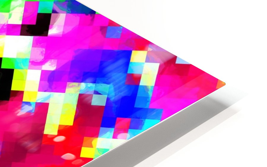 psychedelic geometric pixel abstract pattern in pink purple blue green yellow HD Sublimation Metal print
