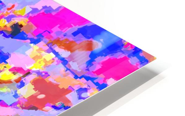 psychedelic geometric square pixel pattern abstract in pink yellow blue HD Sublimation Metal print
