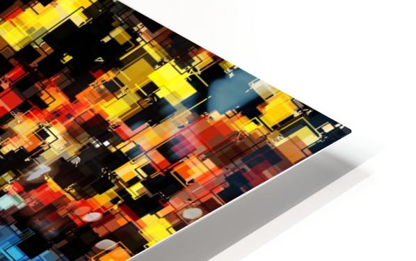 psychedelic geometric pixel square pattern abstract background in red orange blue yellow black HD Sublimation Metal print