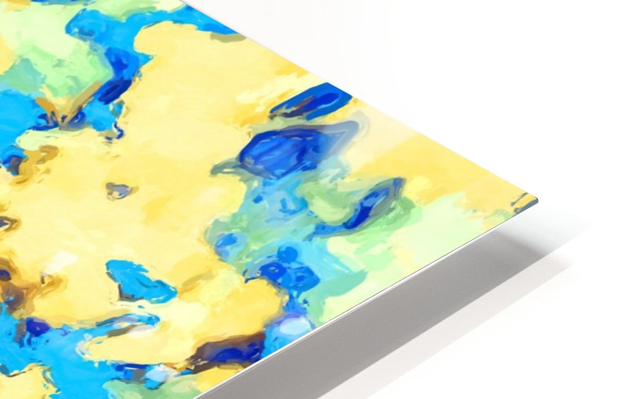 splash painting texture abstract background in blue and yellow HD Sublimation Metal print