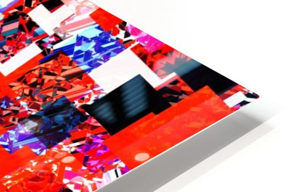geometric square pixel pattern abstract in red blue pink HD Sublimation Metal print