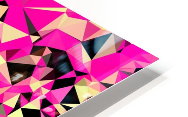 geometric triangle pattern abstract in pink and black HD Sublimation Metal print