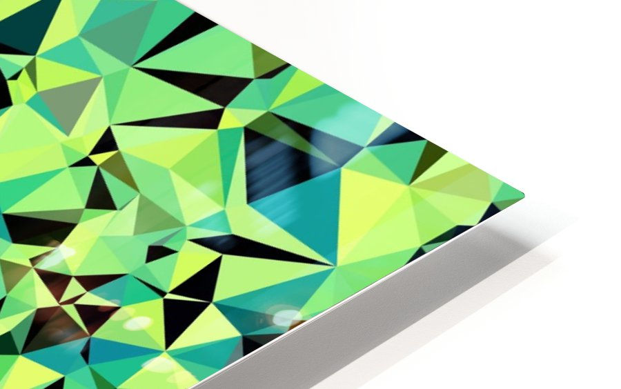 geometric triangle pattern abstract in green blue black HD Sublimation Metal print