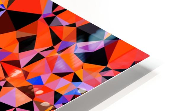 geometric triangle pattern abstract in blue orange red HD Sublimation Metal print