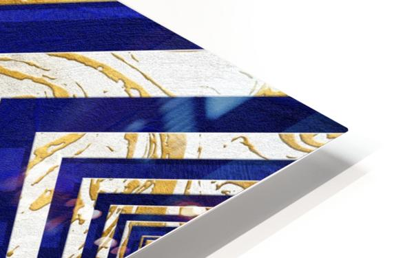 Geometric Gold Dark Blue Marble HD Sublimation Metal print