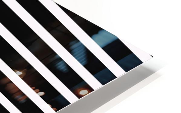 Black & White Stripes with Cranberry Patch HD Sublimation Metal print