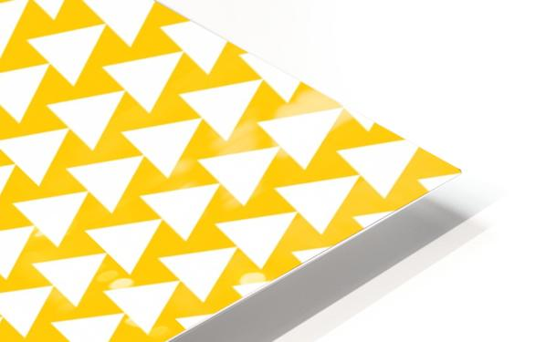 Yellow  White triangle HD Sublimation Metal print