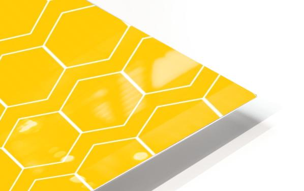 Yellow  White Hexagen HD Sublimation Metal print