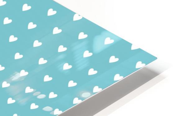 Cadet Blue Heart Shape Pattern HD Sublimation Metal print