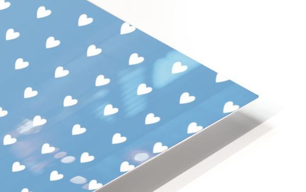 Blue Grey Heart Shape Pattern HD Sublimation Metal print