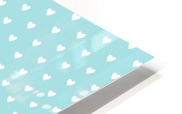 Light Blue Heart Shape Pattern HD Sublimation Metal print