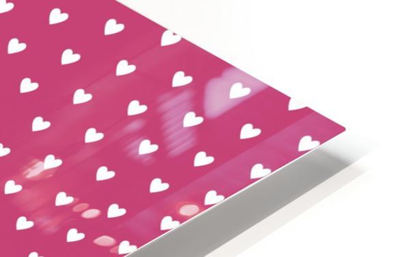 Fuchsia Rose Heart Shape Pattern HD Sublimation Metal print