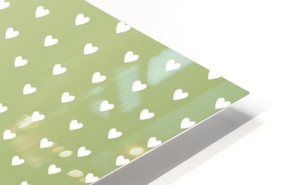 Kids Green Heart Shape Pattern HD Sublimation Metal print