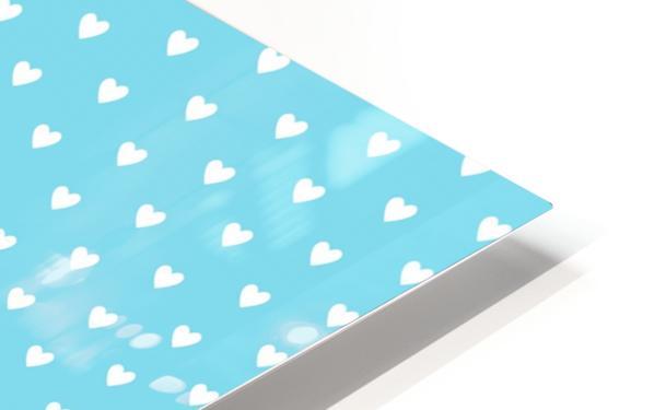Sky Blue Heart Shape Pattern HD Sublimation Metal print