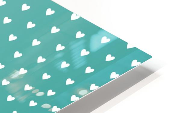 Teal Green Heart Shape Pattern HD Sublimation Metal print