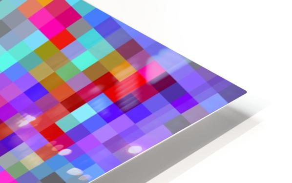 geometric square pixel pattern abstract background in blue purple pink red HD Sublimation Metal print