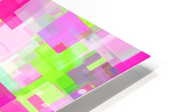 geometric square pattern abstract background in pink and green HD Sublimation Metal print