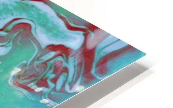 Fire and Ice - turquoise red gradient abstract swirl wall art HD Sublimation Metal print