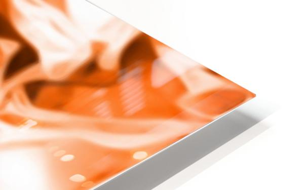 Orange Cream - orange black white swirls abstract wall art HD Sublimation Metal print