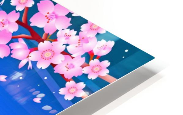 sakura cherry blossom night moon HD Sublimation Metal print