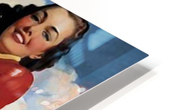 vintage poster soda woman and dog HD Sublimation Metal print