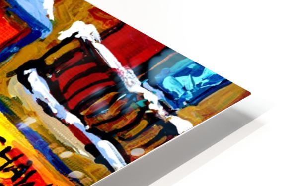 SCHWARTZ S DELI MONTREAL MONTREAL WINTER SCENE PAINTING  HD Sublimation Metal print