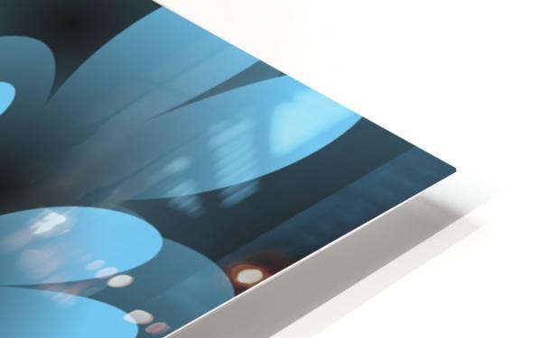 Blue Floral Satin Wallpaper HD Sublimation Metal print