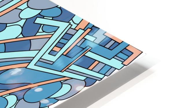 Wandering Abstract Line Art 09: Blue HD Sublimation Metal print