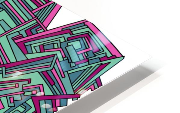 Wandering Abstract Line Art 12: Magenta HD Sublimation Metal print