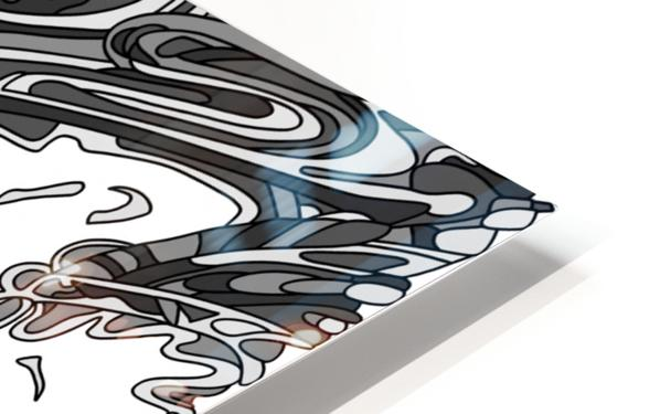 Wandering Abstract Line Art 14: Grayscale HD Sublimation Metal print