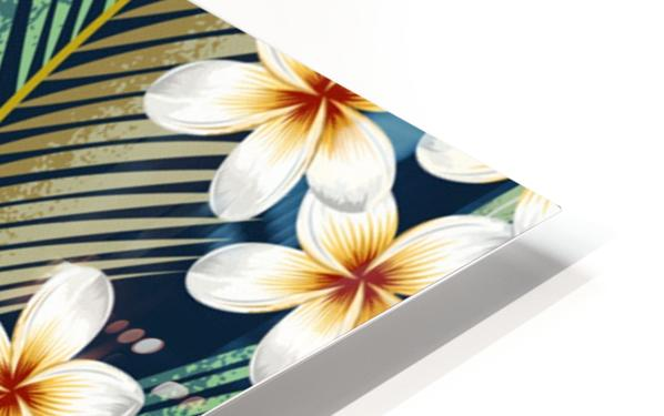 seamless pattern with tropical strelitzia flowers leaves exotic background_ HD Sublimation Metal print